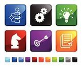Strategy,Light Bulb,Chess,Gear,Computer Icon,Icon Set,Ideas,Square Shape,Square,Green Color,Dart,Chess Knight,Darts,Blue,Label,Bull's-Eye,Shiny,Design,Red,Black Color,Vector,Ilustration,White Background,Empty,Sparse