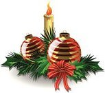 Christmas,Holly,Candle,Decoration,Symbol,Vector,Bow,Winter,Glass - Material,Leaf,Reflection,Flame,Red,Elegance,Backgrounds,Greeting,Sphere,See Through,Bright,Ilustration,Wax,Shiny,Fire - Natural Phenomenon,Isolated On White,Holiday,Celebration,Christmas Ornament,Gold Colored,Ornate,Needle