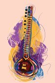 Sitar,Music,Art,Musical Instrument,Indian Music,Equipment,Multi Colored,Painted Image,Drawing - Art Product,Grunge,Paintings,Colors,Sketch,mellody,Vector Backgrounds,Creativity,Vertical,Vector,Painterly Effect,Arts And Entertainment,Indian Tradition,Simplicity,Music,hand drawn,Copy Space,Paint,Illustrations And Vector Art,Ilustration,Design Element,Brush Stroke,Objects/Equipment,Composition