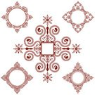 Pattern,Henna Tattoo,Indian Culture,Circle,Frame,Design,Shape,Color Image,Geometric Shape,Snowflake,Vector,Ilustration,Diamond Shaped,At The Edge Of,Brown,Large Group of Objects,Vector Ornaments,White Background,Arrangement,Copy Space,Collection,Outline,Pen And Ink,No People,Elegance,Floral Pattern,Series,Illustrations And Vector Art,Design Element
