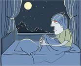 Insomnia,Bedroom,Cartoon,Ilustration,Bed,Men,Illness,Paranoia,Male,Bedtime,Vector,Tired,Concepts And Ideas,Moon,Dark,Pillow,Painted Image,Midnight,Pencil Drawing,Feelings And Emotions,Star - Space,People,Night,Illustrations And Vector Art,Negative Emotion,Blue