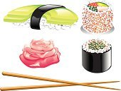 Sushi,Chopsticks,Spring Roll,Avocado,Dinner,Tuna,Meal,Rolled Up,Japanese Culture,Chinese Culture,Food,Prepared Fish,Lunch,Pickled Ginger,Rare,California Roll,Raw Food,Salmon