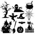 Halloween,Ghost,Silhouette,Domestic Cat,Spider,Spooky,Tree,Castle,Bat - Animal,Spider Web,Pumpkin,Vector,Home Interior,Black Color,Set,Tombstone,Collection,Drawing - Art Product,Hat,Ilustration,Holiday,Abstract,Cultures,Vector Icons,Illustrations And Vector Art,Broom,Season