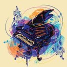 Piano,Music,Musical Instrument,Equipment,Art,Retro Revival,Ilustration,Paint,Drawing - Art Product,Colors,Multi Colored,Painted Image,Creativity,Country and Western Music,Paintings,Sketch,Key,Vector,Simplicity,Composition,Classic,Brush Stroke,Design Element,Objects/Equipment,hand drawn,Vector Backgrounds,Painterly Effect,Grunge,mellody,Illustrations And Vector Art,Square,Arts And Entertainment,Music,Copy Space