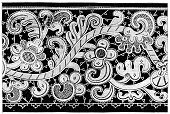 Lace - Textile,Pattern,Floral Pattern,Black And White,Old-fashioned,Image Created 19th Century,Line Art,Engraved Image,Engraving,needlelace,Ilustration,Antique,Venetian Lace,Printed Media,1875,Image Created 1880-1889,Old