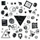 Doodle,Triangle,Sketch,Circle,Shape,Geometric Shape,Ilustration,Single Line,Drawing - Activity,Drawing - Art Product,Square,Square Shape,In A Row,Striped,Pencil Drawing,Vibrant Color,Design Element,Black Color,Hatching,Variation
