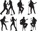 Silhouette,Musician,Singer,Microphone,Performance,Dancing,Guitar,Rock and Roll,Female,Women,Singing,Guitarist,Hobbies,Music,Popular Music Concert,Ilustration,Microphone Stand,Stool,Skill,Vector,Karaoke,Expertise,Outline,Sitting,Excitement,Togetherness,Entertainment,Isolated,Computer Graphic,Male,Nightlife,Jumping,Musical Instrument,Digitally Generated Image,White Background,Men,Vector Graphics,Front View,Black And White,Side View,Multiple Image,Enjoyment,Clip Art,rocking out,Isolated On White,String Instrument,Black Color,Musical Talent,Mid-Air,Standing