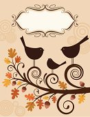 Bird,Autumn,Picture Frame,Tree,Acorn,Family,Frame,Leaf,Love,Branch,Singing,Banner,Ornate,Happiness,Swirl,Oak Tree,Season,Circle,Joy,Birds,Fall,Nature,Animals And Pets,Plants