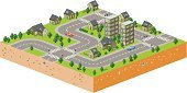 Isometric,Street,Car,House,Traffic,Apartment,People,Tree,City Street,Urban Scene,Plant,Transportation,Architecture And Buildings,Illustrations And Vector Art