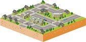 Isometric,Cross Section,Village,Built Structure,Land,Street,Cartography,Urban Scene,People,Sidewalk,Apartment,Car,Tree,Traffic,City Life,Transportation,Architecture And Buildings