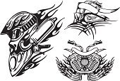 Motorcycle,Tattoo,Indigenous Culture,Biker,Community,Sign,Motorsport,Sports Race,Work Helmet,Wheel,Art,Speed,Part Of,Symbol,People,Horror,Aggression,Purse,Threats,Protection,Style,Dark,Glass - Material,Modern,Gasoline,Black Color,Decoration,Danger,Furious,Tracery,Illustrations And Vector Art,Creativity,Actions,Transportation