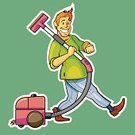 Vacuum Cleaner,Cleaning,Men,Walking,Cleanup,Vector,One Man Only,Humor,Marching,Hausework,Smiling,Young Adult,One Person,Art,Male,Young Men,Square,Illustrations And Vector Art,Technology,Vector Cartoons,Technology Symbols/Metaphors,People,Cheerful