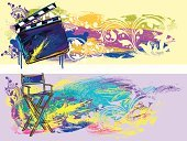 Film Industry,Film Slate,Director's Chair,Chair,Vector,Paint,Multi Colored,Backgrounds,Creativity,filigree,Sketch,Banner,Paintings,Arts And Entertainment,Ilustration,Cinema,Painterly Effect,Copy Space,Painted Image,Illustrations And Vector Art,Design Element,Ornate,Art,Colors,Brush Stroke,hand drawn,Vector Backgrounds,Grunge,Wood - Material,Horizontal,Composition,Drawing - Art Product