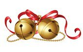 Bell,jingle,Christmas,Holiday,Bow,Ribbon,Celebration,Symbol,Vector,Gold,Party - Social Event,Gold Colored,Red,Ilustration,White,Isolated,Isolated Objects,Holidays And Celebrations,Illustrations And Vector Art,Decoration