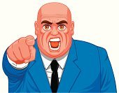 Pointing,Anger,Men,Furious,Business,Cartoon,Shouting,Completely Bald,Portrait,Businessman,Screaming,Ilustration,Isolated,Illustrations And Vector Art,People,Business,Tie,Vector,Suit