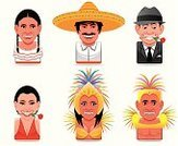 Mexico,Brazil,Mexican Culture,Mexican Ethnicity,Cultures,Tango,Brazilian,Cartoon,Human Face,Symbol,Women,People,Carnival,Computer Icon,Icon Set,Men,Brazilian Culture,Traveling Carnival,Hat,Avatar,Rose - Flower,Stereotypical,Vector,Set,Argentinian Ethnicity,Human Head,Argentinian Culture,Argentina,Ilustration,People,Disguise,Illustrations And Vector Art
