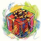 Christmas,Gift,Holiday,Box - Container,Gift Box,Art,Ilustration,Multi Colored,Vector,Creativity,Christmas Present,Colors,Decoration,Design Element,Brush Stroke,White Background,Traditional Festival,Celebration,Close-up,Ribbon,Horizontal,Bow,No People,Single Object,Painterly Effect