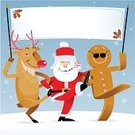 Santa Claus,Christmas,Dancing,Reindeer,Party - Social Event,Holiday,Gingerbread Man,Rudolph The Red-nosed Reindeer,Banner,Vector,Winter,Ilustration,Friendship,Announcement Message,Happiness,Placard,Snowing,Smiling