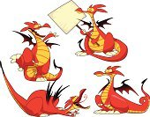 Dragon,Red,Cartoon,Monster,Fun,Remote,Wing,Fantasy,Halloween,Posing,Vector,Group Of Animals,Characters,Reptile,Facial Expression,Isolated Objects,Animals And Pets,Tail,Illustrations And Vector Art,Vector Cartoons,Sign,Humor,Color Image,Message,Smiley Face