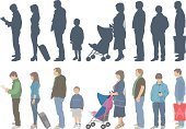 Waiting In Line,People,In A Row,Side View,Waiting,Crowd,Standing,Teenager,Men,Child,Group Of People,Women,Casual Clothing,People,Illustrations And Vector Art,Lifestyle