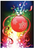 Christmas,Rainbow,Christmas Ornament,Multi Colored,Snowflake,Ribbon,Pink Color,Vector,Christmas Decoration,Ilustration,Design,Purple,Yellow,Green Color,Blue,Digitally Generated Image,Bright,Decoration,Vibrant Color,Holiday,Silver Colored,Violet,Staring