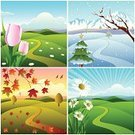 Four Seasons,Season,Mountain,Springtime,Footpath,Weather,Winter,Vector,Flower,Symbol,Summer,Autumn,Image,Green Color,Grass,Nature,Ilustration,Christmas,Dry,Decoration,Branch,Maple Leaf,Colors,Design,Snow,Falling,Sunlight,Nature,Illustrations And Vector Art,Vector Backgrounds,Floral Pattern,Landscapes,Painted Image,Yellow,Copy Space,Four Object,Red,Snowflake,Blue,Orange Color