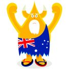 Characters,Yellow,Horned,Serious,Flip-flop,Vector,Beard,Australian Ethnicity,Fist,Caveman,Patriotism,Cartoon,Character Traits,British Flag,Business Symbols/Metaphors,Business,Flag,Ilustration,Star Shape,Staring,Standing,Senior Adult,Fun,Humor,Concepts And Ideas,Costume,Cheerful,Success