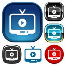 Video,Internet,Symbol,Computer Icon,Television Set,Circle,Chrome,Square Shape,Red,Black And White,Shiny,Illustrations And Vector Art,Play Button,Vector,Online Video