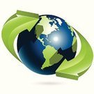 Globe - Man Made Object,Earth,Arrow Symbol,World Map,Planet - Space,Green Color,Single Object,Technology,Industry,Communications Technology,Concepts And Ideas
