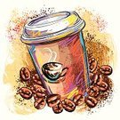 Coffee - Drink,Sketch,Cup,Creativity,Coffee Bean,Coffee Cup,Art,Grunge,Vector,Ilustration,Refreshment,Paintings,Paint,Painted Image,Colors,Square,Freshness,Container,Brush Stroke,Scribble,Design Element,Drawing - Art Product,Incomplete,Painterly Effect,Composition,Copy Space,Drink,Non-alcoholic Beverage,hand drawn