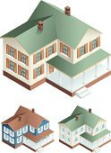 Isometric,House,Building Exterior,Residential Structure,Residential District,Porch,Vector,Cottage,Ilustration,Steps,Isolated Objects,Homes,Architecture And Buildings,Chimney,Door,Window,Lifestyle