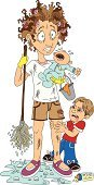Mother,Emotional Stress,Busy,Cleaning,Child,Anger,Multi-Tasking,Displeased,Baby,Cartoon,Messy,Crying,Dirty,Depression - Sadness,Little Boys,Sadness,Vector,Ilustration,Curlers,Housework,Illustrations And Vector Art,Lifestyle,People,Mop,Families,Vector Cartoons,Responsibility,Adult