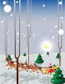New Year's Eve,Santa Claus,Winter,Forest,Deer,New Year,Vector Cartoons,Vacations,New Year's Day,Illustrations And Vector Art
