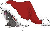 Mouse,Christmas,Animal,Cartoon,Cute,Vector,Below,Hiding,Ilustration,Peeking,Holiday,Looking,Small,Holidays And Celebrations,Illustrations And Vector Art,Christmas,Vector Cartoons,Animals And Pets,Farm Animals,Gray,Smiling,Hat,White,Red,Isolated
