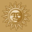 Sun,Human Face,Retro Revival,Old-fashioned,Baroque Style,Old,Antique,Ilustration,Symbol,Decoration,Bronze,Vector,Gold Colored,Anthropomorphic Face,Classic,Close-up,Magic,Sun Face,eps8,Faced Sun,Design Element,Copy Space,Single Object,graphic elements