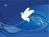 Christmas,Dove - Bird,Spirituality,Religion,Christianity,Ribbon,Backgrounds,Holiday,Pigeon,White,Love,Blue,Bird,Abstract,Star Shape,Flying,Symbol,Ilustration,Wave Pattern,Swirl,Elegance,Ideas,Striped,Vector,Shiny,Peace Symbol,Olive Branch,No People,Computer Graphic,Concepts