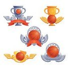 Basketball,Basketball - Sport,Icon Set,Trophy,Design Element,Decoration,Ball,Sports And Fitness,Sport,Success,Artificial Wing,Award