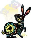 Rabbit - Animal,Chinese New Year,Chinese Zodiac Sign,Chinese Culture,Vector,Animal,Ilustration,Watercolor Painting,Painted Image,Paintings,Clip Art,Vitality,Holidays And Celebrations,New Year's,Vector Ornaments,Illustrations And Vector Art,Cultures,Vibrant Color,Ornate,Multi Colored