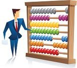Abacus,Mathematics,Counting,Men,Calculator,Finance,Businessman,Ilustration,Motion,Currency,Male,White Background