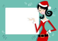 Christmas,Retro Revival,Women,Santa Claus,Teenage Girls,Banner,Invitation,Poster,Female,Fun,Placard,Sign,Flirting,Red,Fashion,Vector Backgrounds,Holidays And Celebrations,Christmas,Beauty And Health,Beautiful,Vibrant Color,Multi Colored,Illustrations And Vector Art