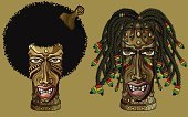 Dreadlocks,Rastafarian,Afro,Mask,Tiki,Vector,Indigenous Culture,African Descent,Reggae,Wood - Material,Furious,Anger,Human Face,Rope,Ilustration,People,Design,Carving - Craft Product,Computer Graphic,Sculpture,Ornate,Design Element,Afro Comb,Facial Expression,Isolated Objects,Textured,African Ethnicity,Black Color