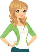Women,Cartoon,Blond Hair,Confidence,Smiling,Standing,Beauty,Beautiful,Happiness,Cheerful,Cute,One Woman Only,Green Color,Cardigan,Arms Akimbo,Caucasian Ethnicity,Vector Cartoons,Illustrations And Vector Art,People