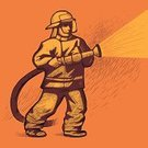 Firefighter,Fire Hose,Fire - Natural Phenomenon,Firefighter's Helmet,Operating,Spraying,Vector,Running Water,People,Squirting,One Person,Trainee,Uniform,Fire Extinguishing,Illustrations And Vector Art,Business People,Work Helmet,Business,People,Jet - Band,Vector Icons,Auxiliary Fire Service,Line Art,Danger,Practicing,Water