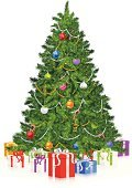 Christmas Tree,Christmas,Gift,Vector,Evergreen Tree,Isolated,White Background,White,Blue,Purple,Green Color,Vertical,Holidays And Celebrations,Reflection,Red,Christmas Decoration,Isolated On White,Christmas,Holiday,Ilustration,Christmas Ornament,Gold Colored,Yellow