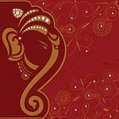 Ganesha,Hinduism,Backgrounds,Vector,Floral Pattern,Gold Colored,Red,Flower,Gold,Ornate,Swirl,Weddings,Religion,Copy Space,Vector Backgrounds,Holidays And Celebrations,Illustrations And Vector Art,Design Element,Decoration,Cultures