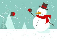 Snowman,Christmas,Christmas Tree,Winter,Bird,Robin,Tree,Ilustration,Snow,Scarf,Red,Vector,Cheerful,Fun,Blue,Multi Colored,Snowing,Cool,Vector Cartoons,Christmas scene,Holidays And Celebrations,Winter,Celebration,winter landscape,Cold - Temperature,Illustrations And Vector Art,Friendship,Nature