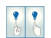 Human Finger,Thumb,Light Bulb,Pointing,Human Hand,Aiming,Index Finger,Electricity,Hand Sign,Concepts,Glowing,Power,Gesturing,Ideas,Collection,Shiny,Blue,Energy,Fuel and Power Generation