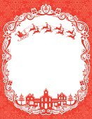 Christmas,Frame,Santa Claus,Retro Revival,Old-fashioned,Sleigh,House,Reindeer,Poster,Tree,Village,Greeting Card,Holly,Backgrounds,Red,Snow,Gift,Lace - Textile,Town,Winter,Poinsettia,Vector,Flying,Ornate,Vine,White,Church,Copy Space,Swirl,Vector Backgrounds,Holiday Backgrounds,Illustrations And Vector Art,Holidays And Celebrations,Christmas