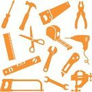 Work Tool,Hammer,Symbol,Screwdriver,Ruler,Home Improvement,Drill,Icon Set,Wrench,Level,Scissors,Hand Saw,Spanner,Tape Measure,Adjustable Wrench,Orange Color,Clamp,Razor Blade,Utility Knife,Pliers,Woodsaw,Household Objects/Equipment,Objects/Equipment,Industrial Objects/Equipment,Open Ended Spanner