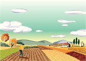 Farm,Landscape,Vineyard,Vector,Vegetable,Farmhouse,Agriculture,Ilustration,Caucasian Ethnicity,Scenics,Brown,Black Color,Hill,Blue,One Man Only,Only Men,Computer Graphic,Mid Adult Men,Hill Range,Occupation,Grain And Cereal Products,Agriculture,Nature,Digitally Generated Image,Food And Drink,White,Landscapes,Industry,Agricultural Occupation,Men,Art Product,Yellow,Green Color,Red